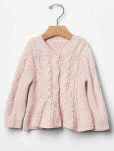 3075daac18c7 GAP Baby Girls NWT 3-6 Months Pink Cable Knit   Peplum Cardigan ...