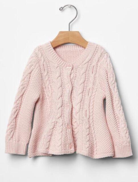 b81fcefc606a Gap Baby Girls 3-6 Months Pink Cable Knit   Peplum Cardigan Sweater ...