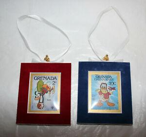 2-Lot-Disney-Goofy-Donald-Velvet-Framed-Grenada-Stamps-Christmas-Tree-Ornament