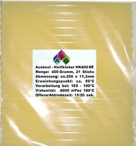 Ausbeul HEISSKLEBER 0,4 kg gelb mit Harz 21 Sticks ca. 11,3x200 mm  Hart