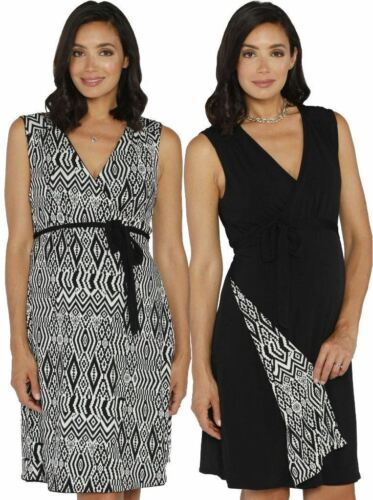 Maternity Reversible Wrap Nursing Dress Black /& Tribal Print