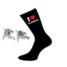I Love Climbing Socks & Climbers Ice Axe Cufflinks Gift Set