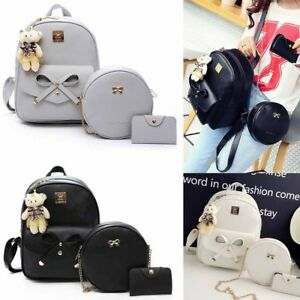 fb524ae33411eb PU Leather Bag Shoulder School Bag Travel Backpack Rucksack Women ...