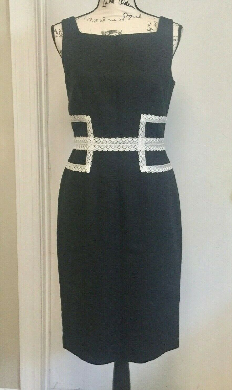 DAVID MEISTER Black Sheath Dress Sleeveless Linen blend Lace Waist Size 6 Lined
