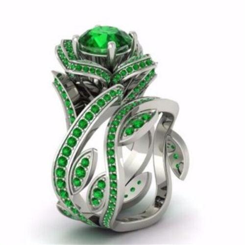 Gorgeous Lotus Ring Round Cut Emerald Women 925 Silver Wedding Ring Size 6-10