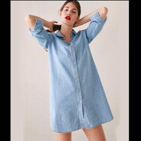 Zara Chambray Denim Shirt Dress Size XS - Gem