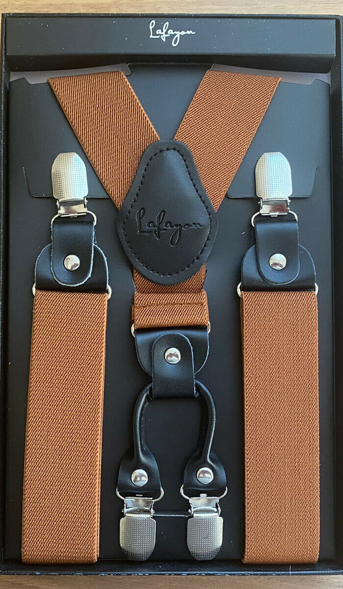 Lafayon Brown Men's Braces with Metal Clips, Brand New In Box Ideal Gift