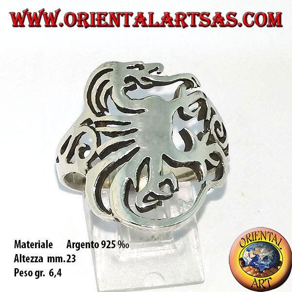 Anello in silver 925 ‰ con grifone stilizzato intagliato