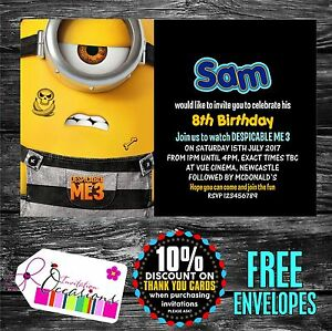 Image Is Loading Personalised Birthday Invitations Despicable Me 3 Movie Ticket