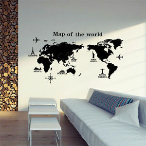 Removable pvc world map vinyl art room wall sticker decal mural home removable pvc world map vinyl art room wall gumiabroncs Images