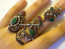 Two finger rings,Full Finger Antique Gold,Ethnic boho rings set,Chain link ring
