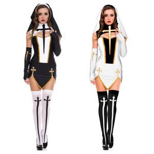 Women-039-s-Halloween-Sexy-Bad-Habit-Nun-Costume-Cosplay-Party-Fancy-Dress-Outfits