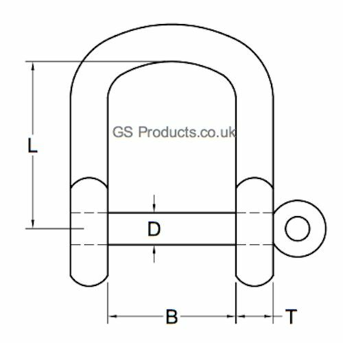 5x 6mm A4-AISI 316 Stainless Steel Wide Jaw D Shackle FREE POSTAGE PACKAGING!
