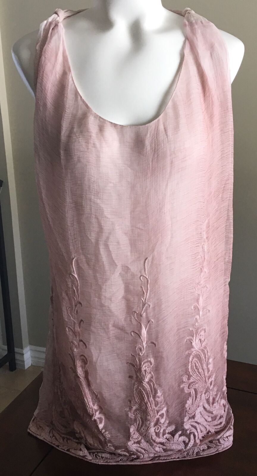 Diesel damen T-Sitri-B Tank Top Mauve Sheer Lined Small Embroidery