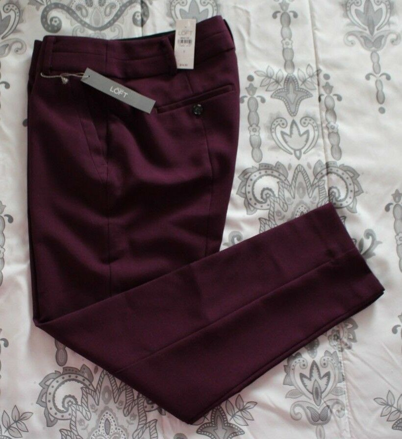 NWT  79.50 Ann Taylor Loft sz 0 Wine Burgundy Dress Career Pants  70026, 32Wx28L