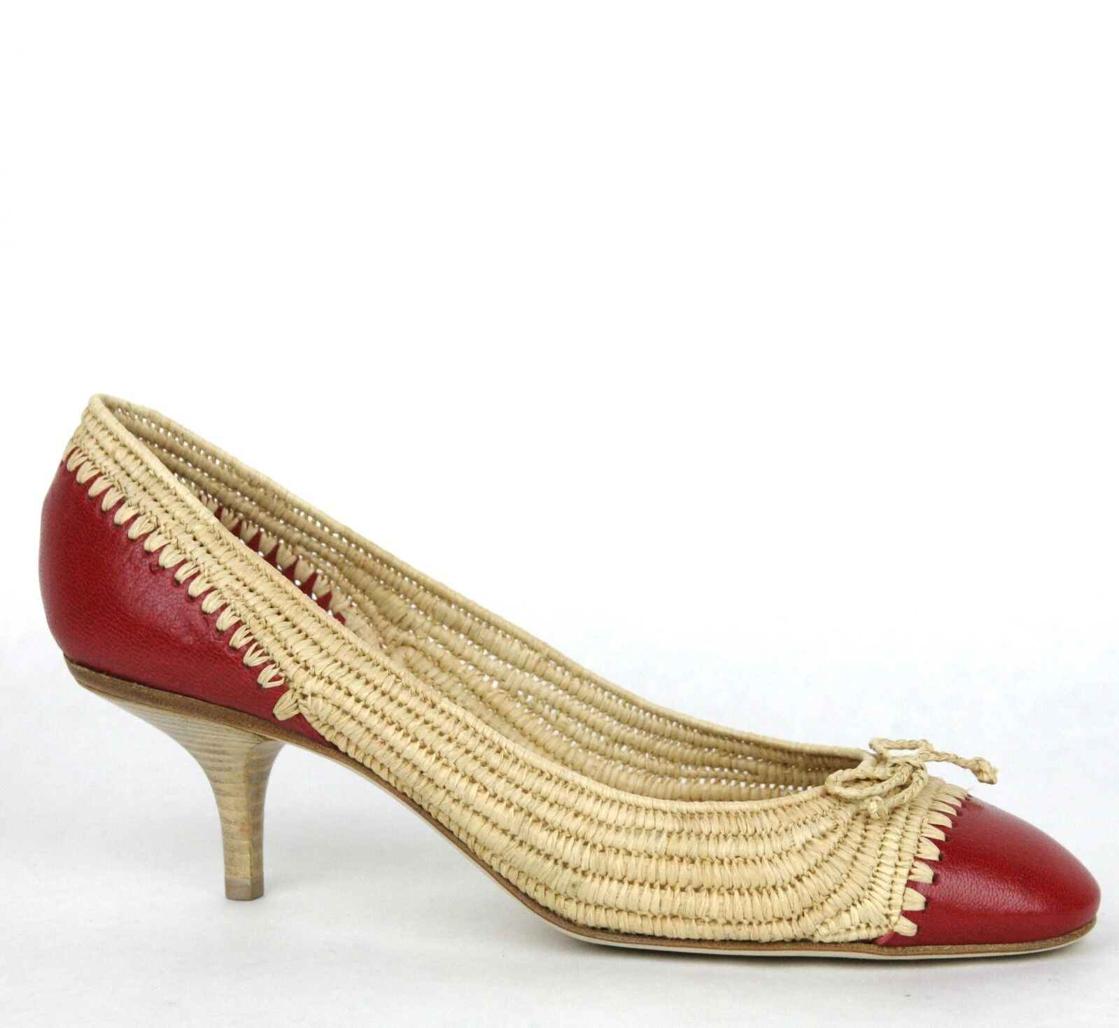 880 New Bottega Veneta Straw Leather Heel Pump w Bow Beige Red 338296 9867