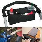 Baby Stroller Pram Pushchair Safe Console Tray Cup Holder Organizer Bag Black