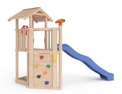 ISIDOR Little Joe Spielturm Baumhaus Schaukel Kletterturm Rutsche 1,2 m Podest