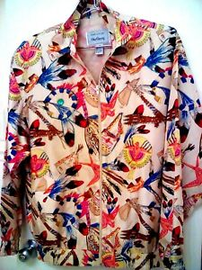 OLEG-CASSINI-Team-Effort-M-L-100-Silk-Vintage-Native-American-Print-Windbreaker