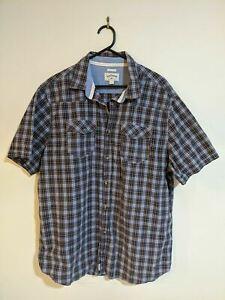 Men's Lee Cooper Shirt Size XXL 2XL Regular Fit Blue Check Short Sleeve