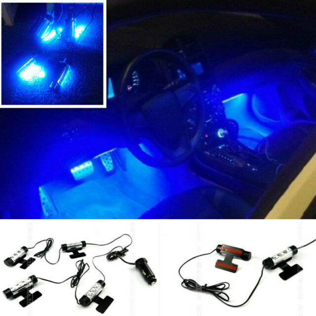 4 Pcs Blue LED light Car Charging Footwell surface decoration Lamp For Benz