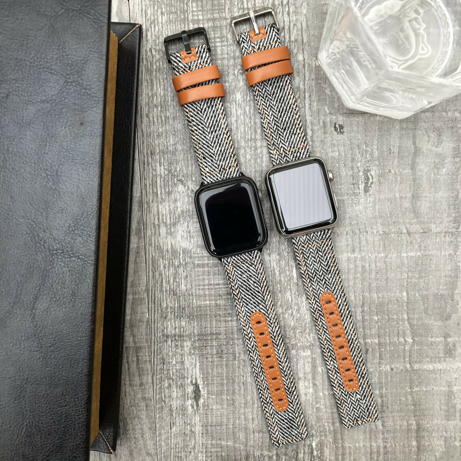 iwatch: Per Orologio Apple Serie 6 5 & Se 40/44mm Tessuto & Pelle Iwatch Polso Cinturino