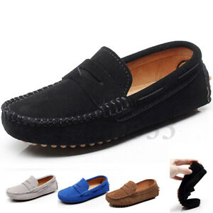85c287e89fb Boys Kids Penny Loafers Suede Leather Slip On Moccasins Flat Comfy ...