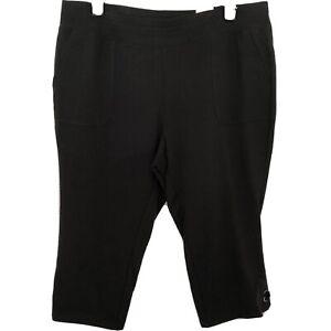 Avenue-Leisure-Lounge-Plus-Size-18-20-Black-Stretch-Cropped-Pants-Pockets-NWT