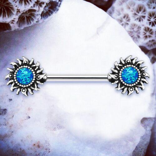 SOLITA Blue Opal Nipple Ring Blue Nipple Bar Tribal Nipple Piercings Nipple Bars
