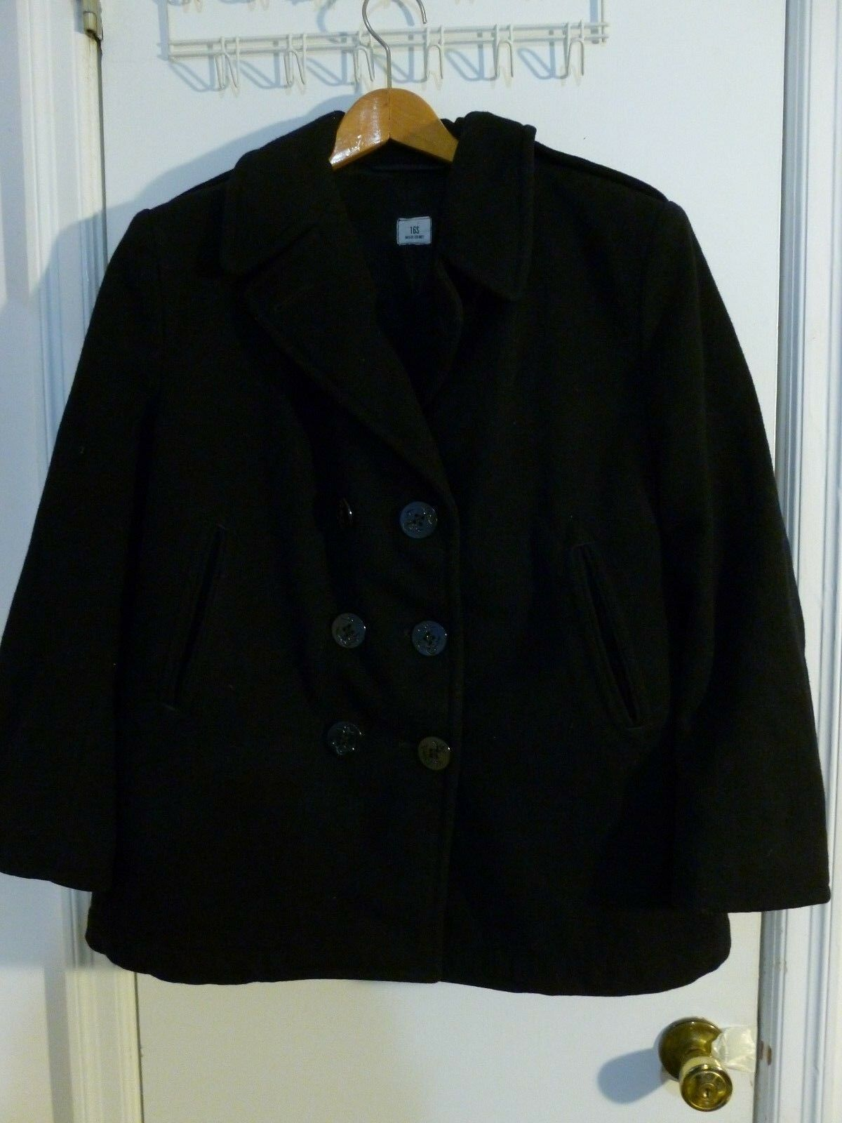Authentic U.S.N. Peacoat 100% Wool size 16 S  Anchor Buttons