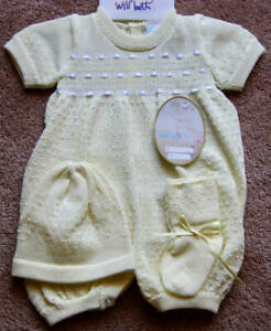 Will-039-beth-Preemie-Infant-Boy-Unisex-Yellow-Knit-Romper-Hat-Booties-Dolls