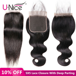 UNice-5x5-Lace-Closure-Free-Part-Body-Wave-Straight-Hair-Closure-Bleached-Knots
