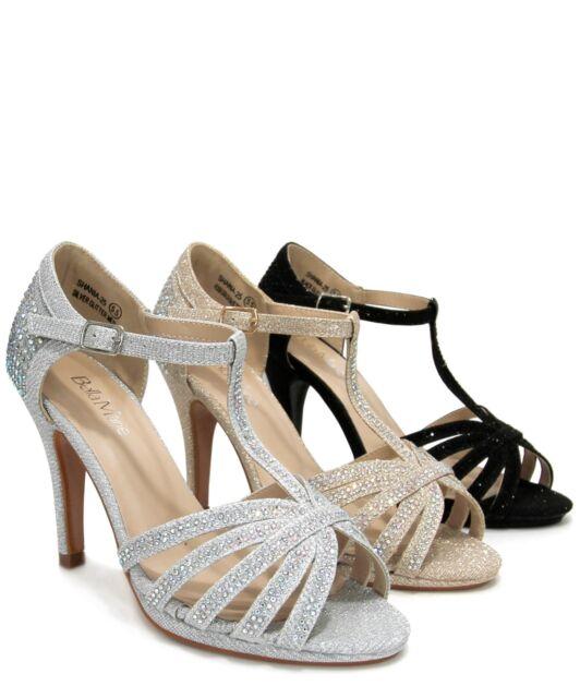 Women's Open Toe T-Strap Rhinestone Evening Dressy High Heel Sandals Shania-25