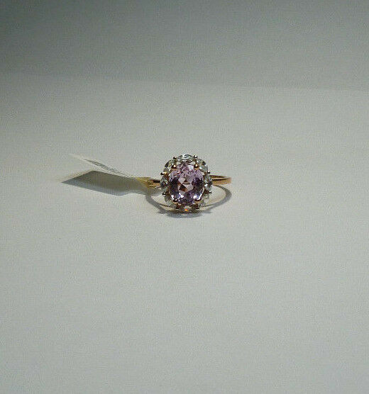10k pink gold 3.62ctw Oval Afghanistan Kunzite & Marquise White Zircon Ring