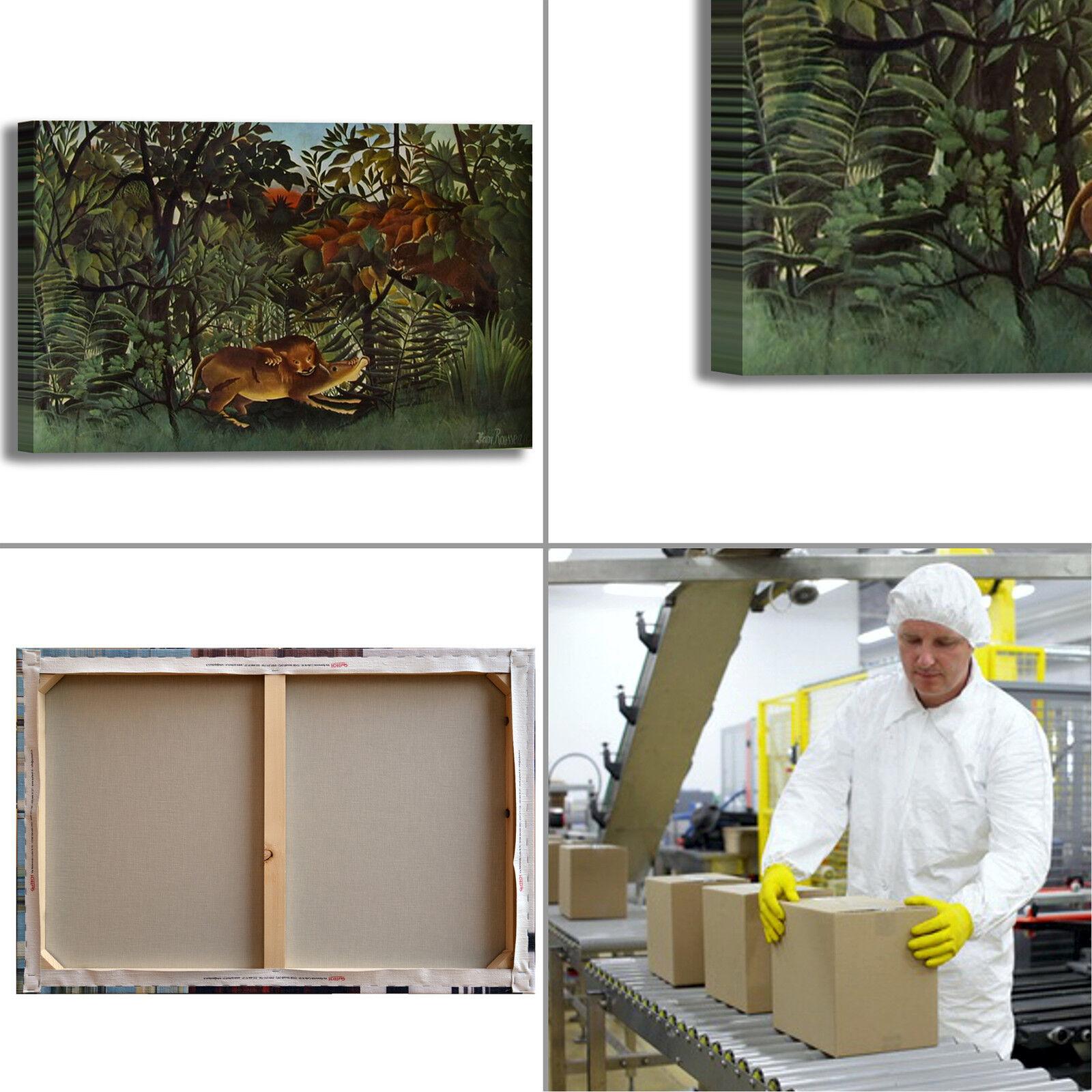 Rousseau antilope e leone design quadro o stampa tela dipinto telaio arRouge o quadro casa bfc95c