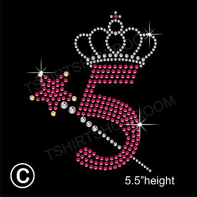 Birthday Number 5+Wand and Crown Rhinestone Transfer Hotfix Iron on+Free Gift