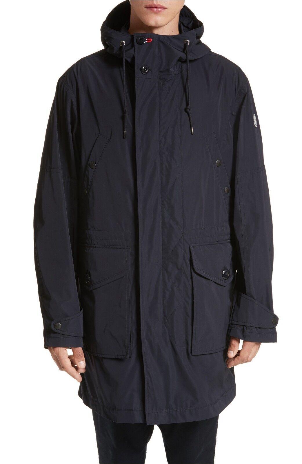 Moncler  Herren Guiers Lightweight Long Wind Rain Coat NWT Größe 5 XL Navy 995