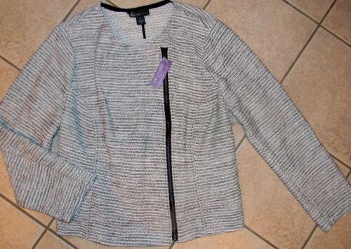 NEW Womens Lane Bryant tweed jacket coat metallic sweater SLIMMING 26 26W 3X 4X