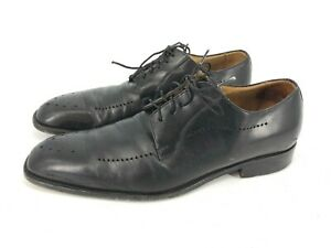 Johnston-amp-Murphy-Mens-Handcrafted-Brogue-Italy-Shoes-Sz-9-5-Oxford-Dress-J9