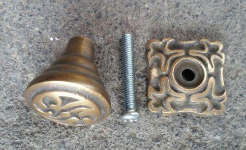 "1/"" back plate #K5 4 Ornate Art Nouveau Ornate Brass Knobs Pulls hardware w"
