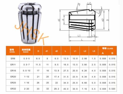ER16-1//4 1//4  ER16 Spring Collet for CNC Chuck Milling Lathe ER16 Φ1//4