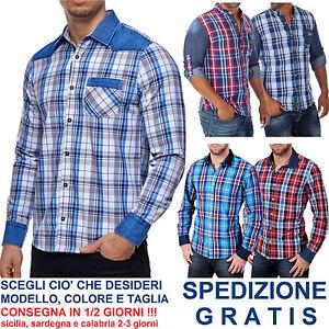 Camicia-a-Quadri-Uomo-Manica-Lunga-Cotone-con-Inserti-in-Jeans-Avvitata-Scozzese