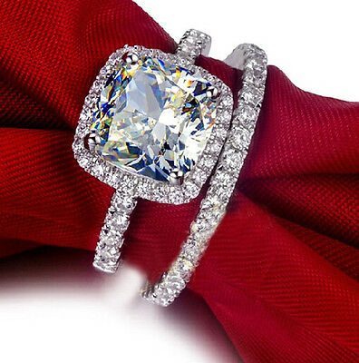 Handmade Women's 925 Silver Cushion-cut White Sapphire CZ Paved Wedding Ring Set