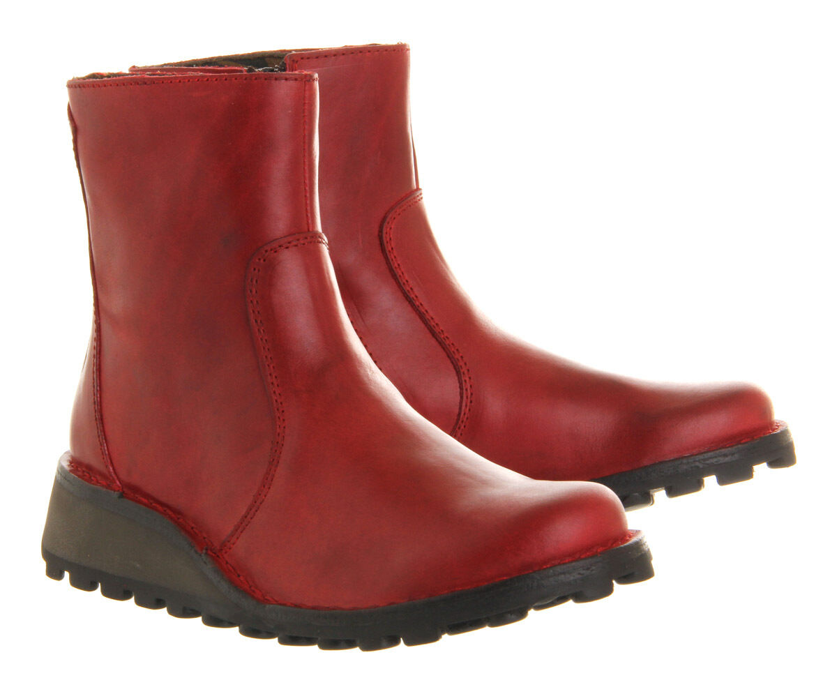 FLY LONDON 'MASI' RED LEATHER WEDGE ZIP UP CHELSEA ANKLE BOOTS UK 3  36