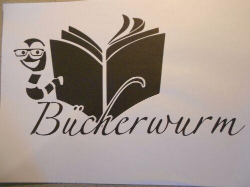 Schablone Bücherwurm auf A4