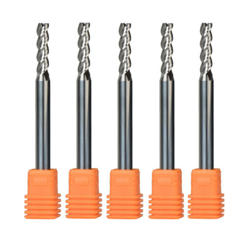 5Pcs 5mm Dia Long End Mill Set For Aluminum 3 Flute 6mm Shank CNC Engraving Tool
