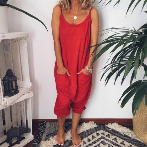 Summer Women/'s Loose Casual Pockets Jumpsuit Romper Playsuit Haren Pants Trouser