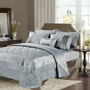 Sequin Velvet Quilted Bedspread Set Bed Throw Comforter Single Double Super King