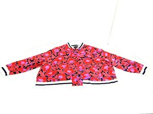 Who What Wear Coat Red Floral White Stripe Snap Button Bomber Jacket Womens 4X