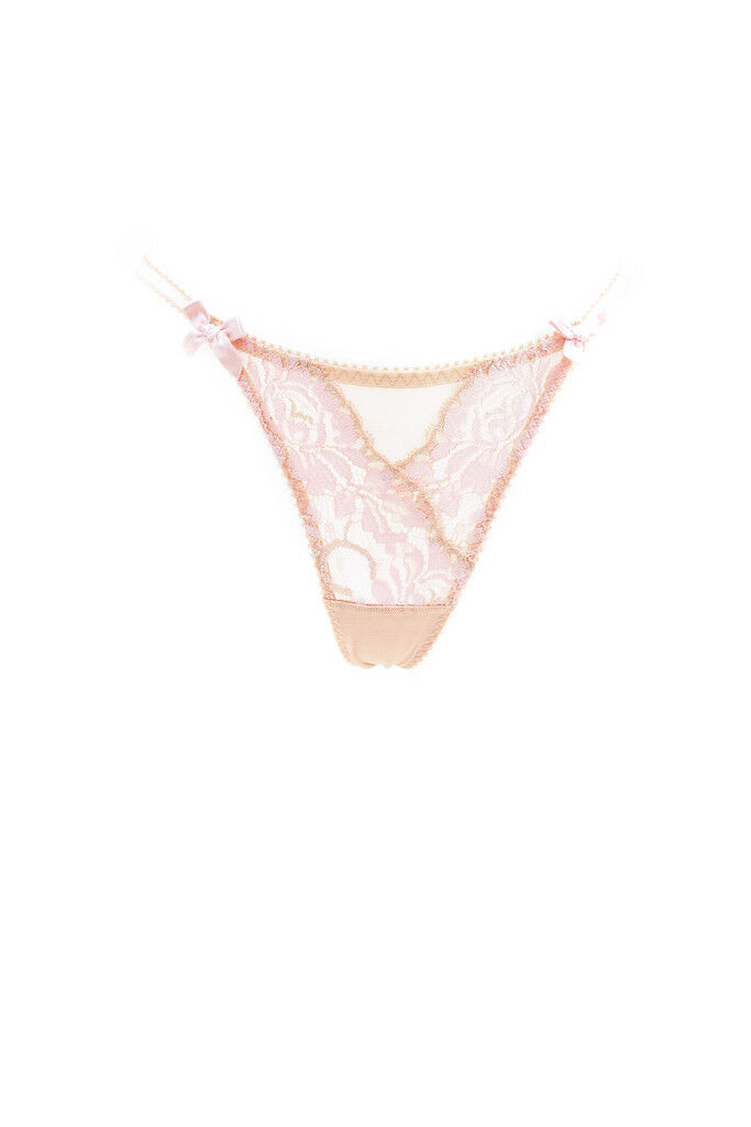 L'Agent by Agent Provocateur Women's New Floral Lace Thong Beige L RRP  BCF88